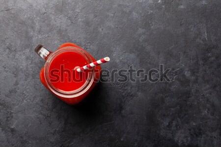 Teáscsésze menta kő asztal felső kilátás Stock fotó © karandaev
