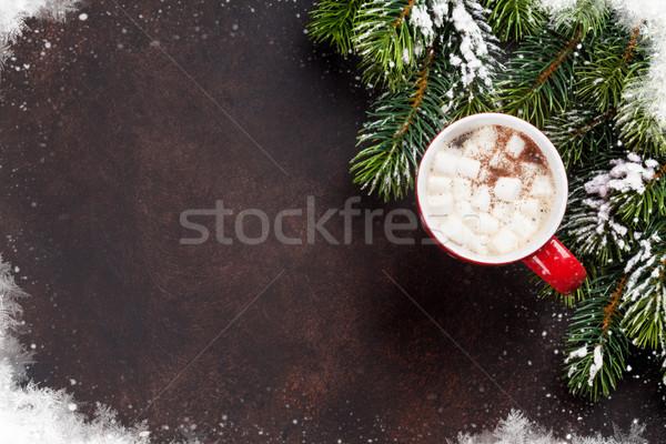 Kerstboom warme chocolademelk heemst christmas top Stockfoto © karandaev