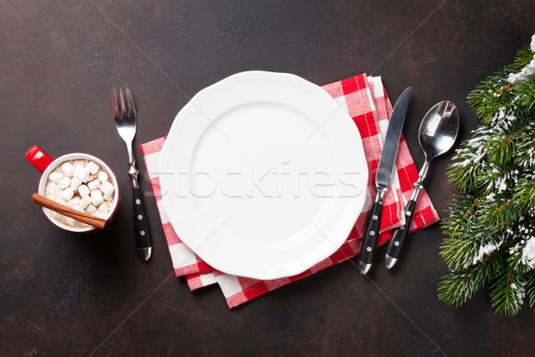 Karácsony vacsora tányér ezüst étkészlet fenyőfa forró csokoládé Stock fotó © karandaev