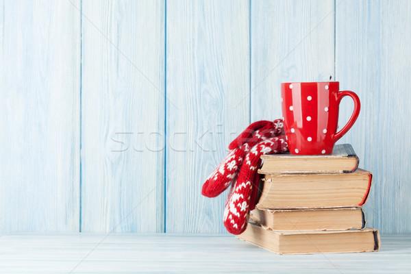 Sıcak çikolata fincan eldiveni kitaplar Noel görmek Stok fotoğraf © karandaev