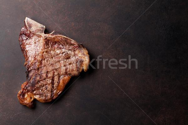 Biftek ızgara taş tablo üst görmek Stok fotoğraf © karandaev