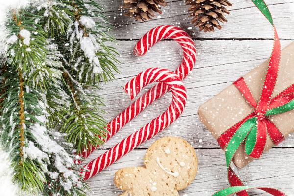 Photo stock: Noël · coffrets · cadeaux · neige · coffret · cadeau · bonbons