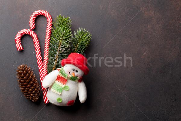 Noël bonbons bonhomme de neige jouet neige Photo stock © karandaev