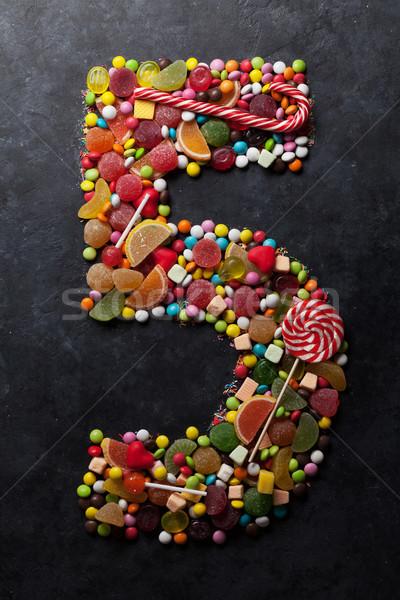 Aantal vijf zoete donkere wenskaart Stockfoto © karandaev