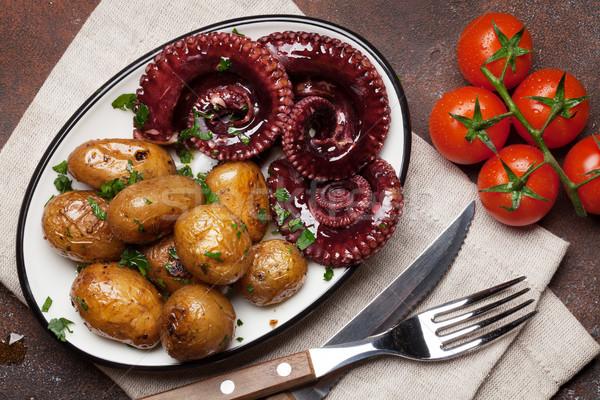 Gegrild octopus klein kruiden specerijen Stockfoto © karandaev