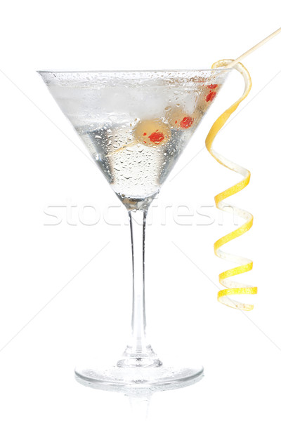 Cocktail collection - Classic martini with lemon decoration Stock photo © karandaev