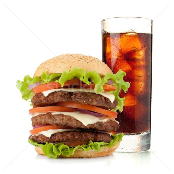 стекла Cola льда гамбургер изолированный белый Сток-фото © karandaev