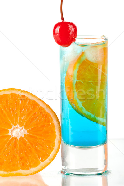 Alcohol cocktail with blue curacao, orange and maraschino Stock photo © karandaev