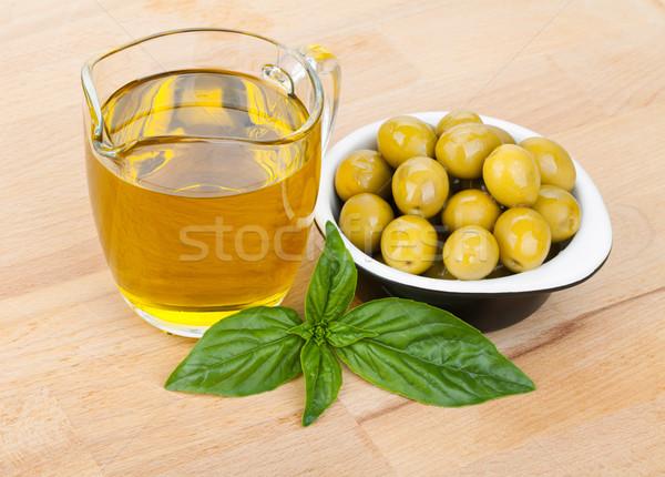Oliven Olivenöl Basilikum Essen Blatt Stock foto © karandaev