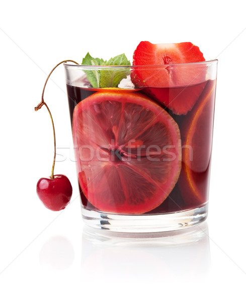 Refreshing fruit sangria with strawberry, orange and cherry Stock photo © karandaev