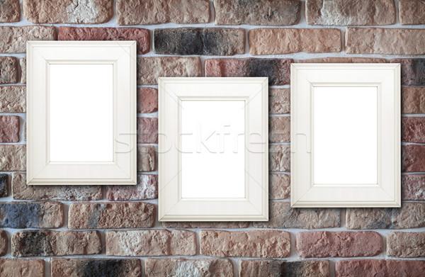 Stock fotó: Fotó · keret · téglafal · terv · háttér · keret