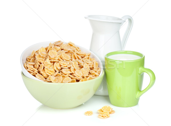 Vers cornflakes kom beker geïsoleerd Stockfoto © karandaev