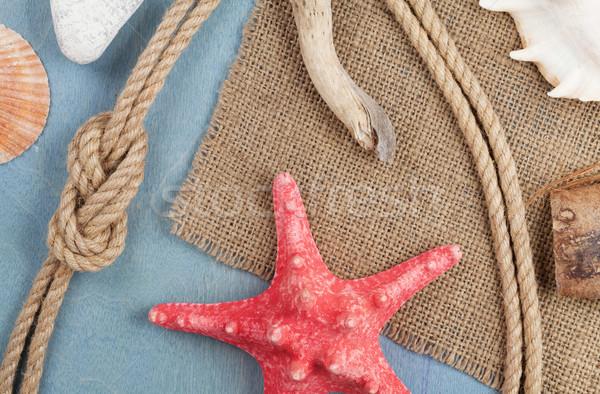 Navire corde toile de jute bois texture Photo stock © karandaev