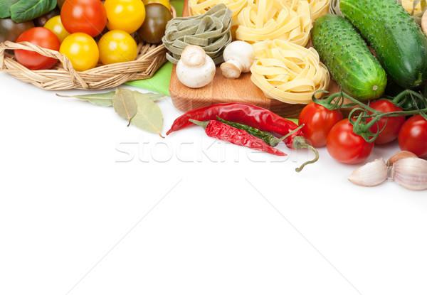 Fresco ingredientes cozinhar macarrão tomates pepino Foto stock © karandaev