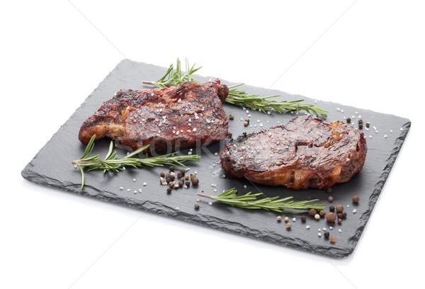 Rundvlees rosmarijn specerijen geïsoleerd witte diner Stockfoto © karandaev
