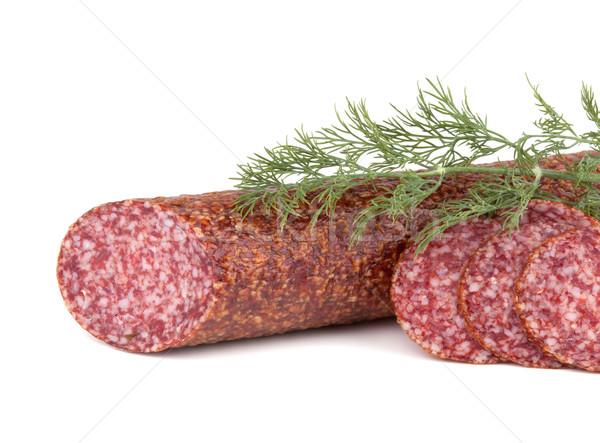 Slices italian salami sausage with dill Stock photo © karandaev