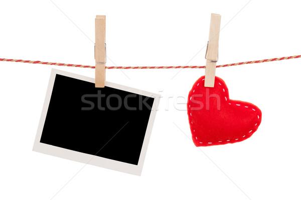 Fényképkeret valentin nap játék szív akasztás kötél Stock fotó © karandaev