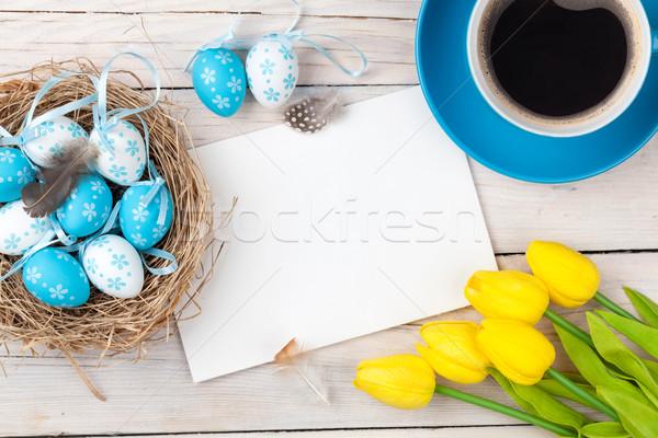 Paskalya mavi beyaz yumurta yuva sarı Stok fotoğraf © karandaev