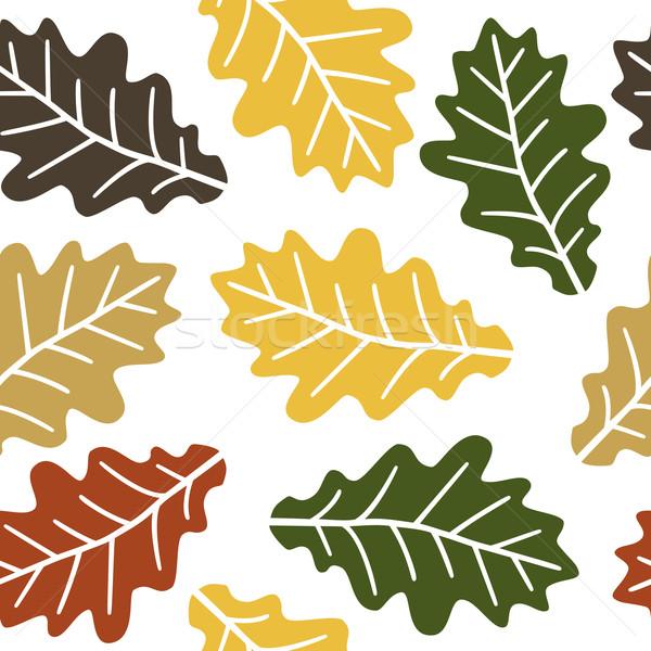Сток-фото: бесшовный · дуб · листьев · шаблон · осень · весны