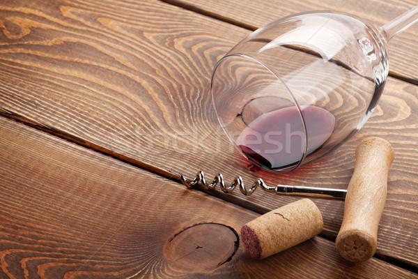 ワイングラス コルク コークスクリュー 木製のテーブル コピースペース 食品 ストックフォト © karandaev