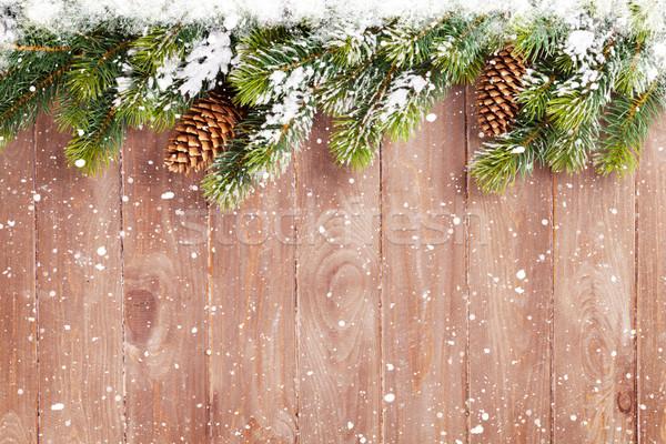 Photo stock: Noël · bois · neige · vue · espace · de · copie