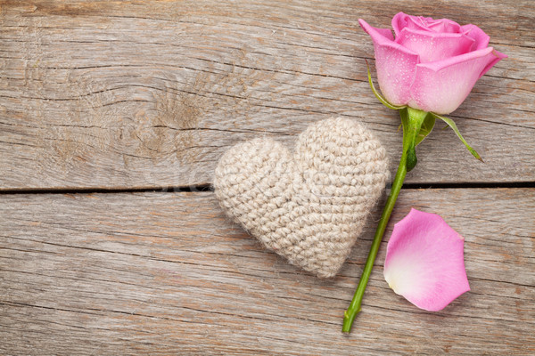 Valentines day card with pink rose and handmaded toy heart Stock photo © karandaev