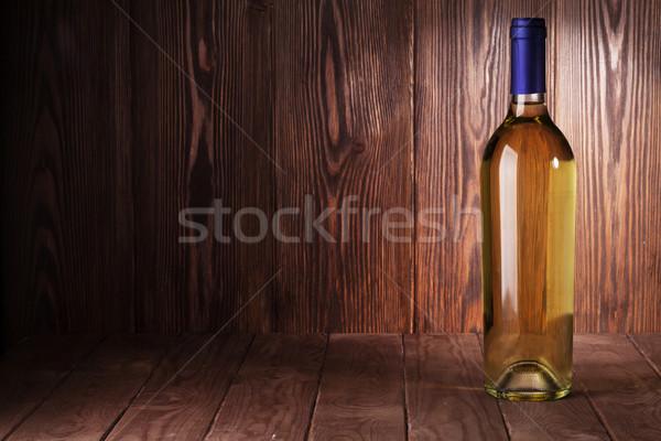 Fehérboros üveg fa asztal kilátás copy space textúra fa Stock fotó © karandaev