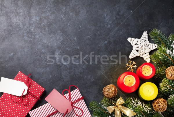 Stok fotoğraf: Noel · mumlar · hediye · kutuları · kar · taş