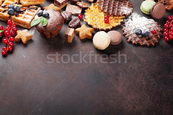 Waffles, sweets and berries Stock photo © karandaev
