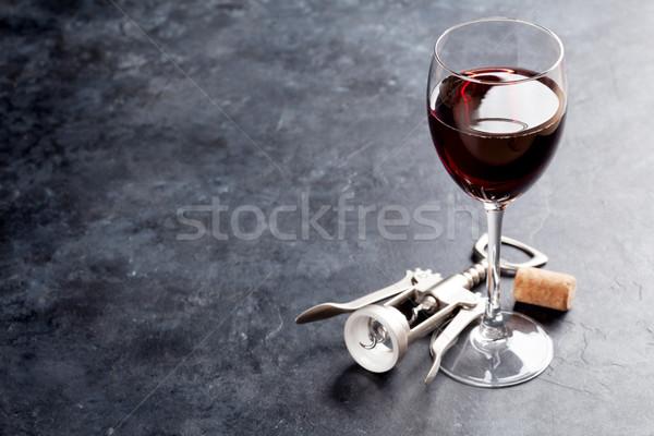 Rode wijn glas steen tabel exemplaar ruimte Stockfoto © karandaev