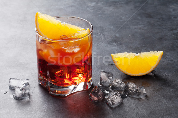 Stockfoto: Cocktail · donkere · steen · tabel · partij · achtergrond