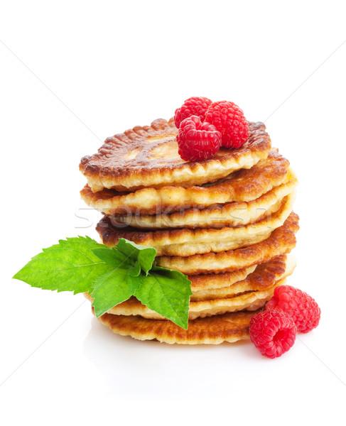 Pannenkoeken framboos mint geïsoleerd witte voedsel Stockfoto © karandaev