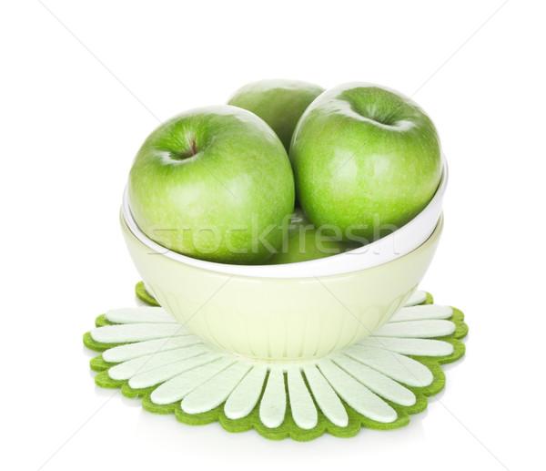 Grünen Äpfel Obstschale isoliert weiß Essen Stock foto © karandaev
