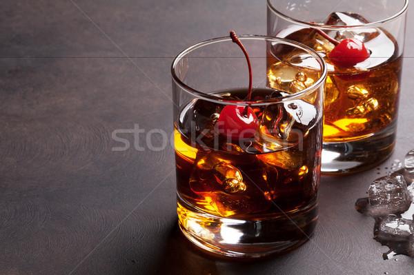 Manhattan kokteyl viski bo buz uzay Stok fotoğraf © karandaev