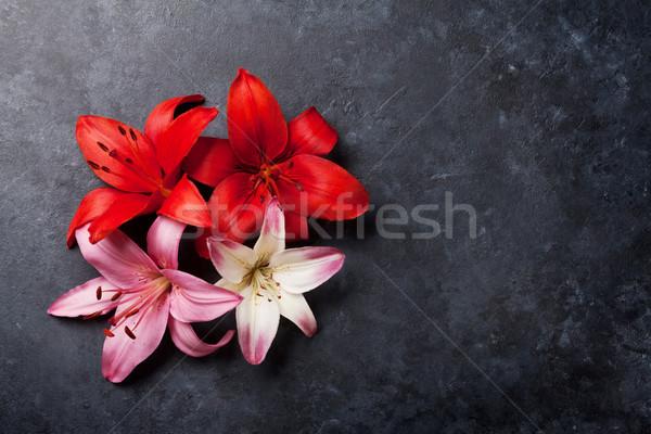 Colorido Lily flores oscuro piedra espacio Foto stock © karandaev