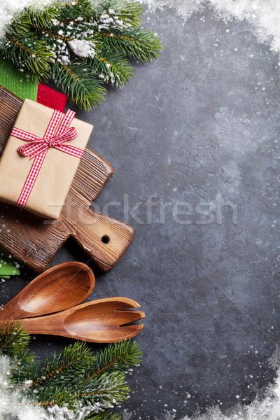Christmas cooking table, gift box and utensils Stock photo © karandaev
