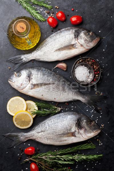 Raw dorado fish Stock photo © karandaev