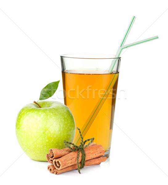 Zdjęcia stock: Sok · jabłkowy · szkła · zielone · jabłko · cynamonu · odizolowany