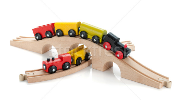 Houten speelgoed gekleurd trein geïsoleerd witte baby Stockfoto © karandaev