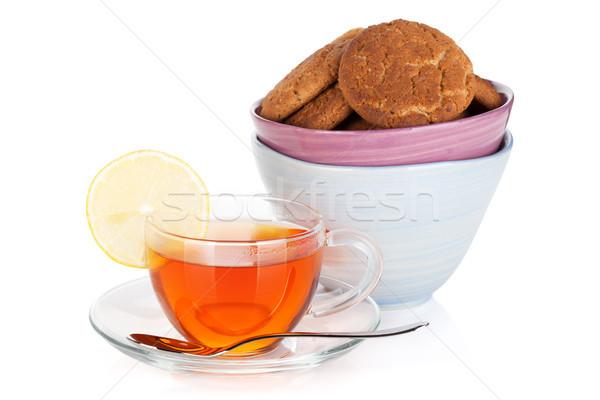 üveg csésze fekete tea citrom sütik Stock fotó © karandaev