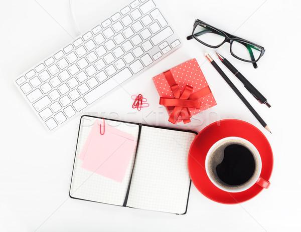 赤 コーヒーカップ ギフトボックス 事務用品 コンピュータ ストックフォト © karandaev