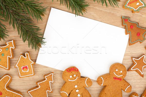 Natale pan di zenzero cookies carta copia spazio Foto d'archivio © karandaev