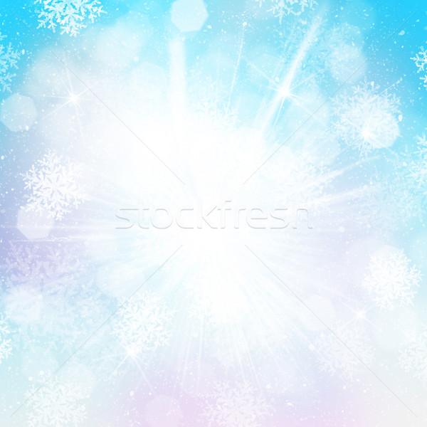 Zamazany bokeh christmas płatki śniegu szczęśliwy streszczenie Zdjęcia stock © karandaev