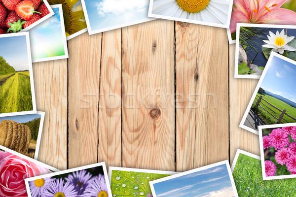 Imprimé photos collage table en bois espace de copie Photo stock © karandaev