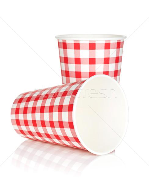 使い捨て 紙 カップ 孤立した 白 水 ストックフォト © karandaev