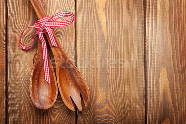 Wood kitchen utensils Stock photo © karandaev
