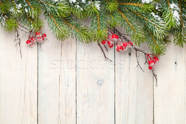 Stock photo: Christmas wooden background with fir tree