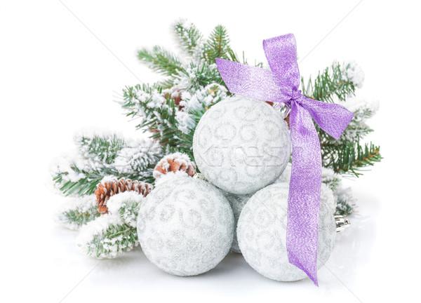 Karácsony lila szalag hó fenyőfa izolált Stock fotó © karandaev