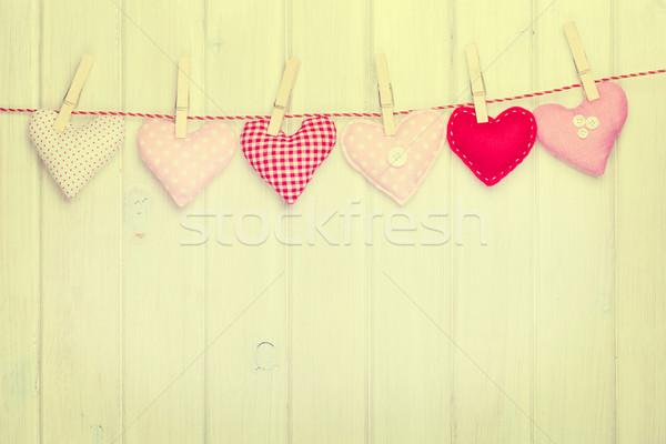 Valentines day toy hearts hanging on rope Stock photo © karandaev