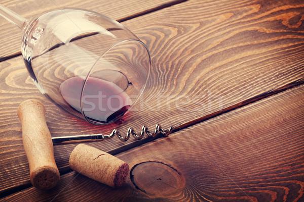 Borospohár dugó dugóhúzó fa asztal copy space textúra Stock fotó © karandaev